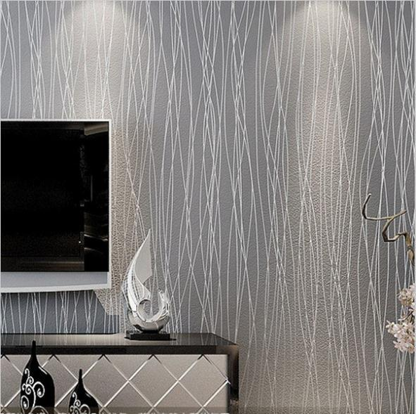 Non Woven Fashion Thin Flocking Vertical Stripes Wallpaper For - Grey living room wallpaper