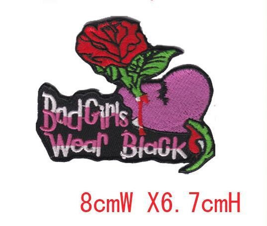 nice new beautifu red rose flower patch bad girls iron on border use in cloth or bag free shipping embroidery welcome custom