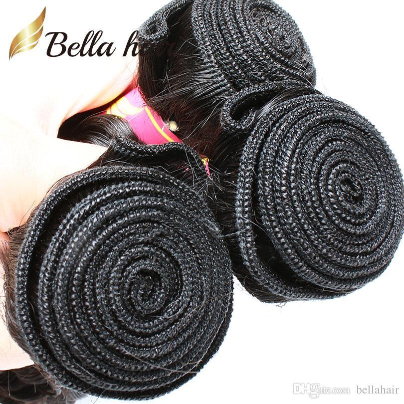 Bellahair Peruvian Human Virgin Hair Bundles Extensions Curly Human Hair Weaves Double Weft Cheap Natural Color
