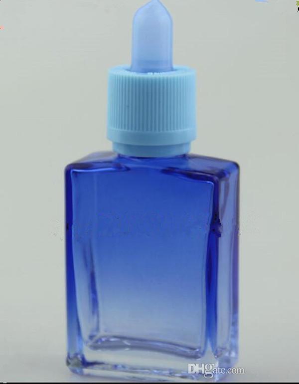 أبيض بلوري / لامعة 15ML 30ML زجاجات بالقطارة الزجاجية eliquid ل e- عصير زجاجات مربع الزجاج المستطيل الأخضر الأرجواني الأزرق