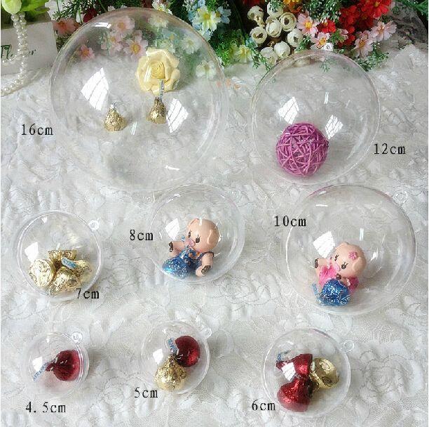 New 4cm 5cm 6cm 7cm 8cm 10cm 12cm 15.6cm Clear Plastic Ball Candy ...