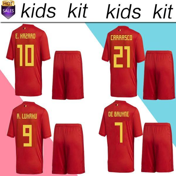 b3c9f25fa0e 2019 2018 World Cup Belgium Soccer Jersey Kids Kit 2018 Belgique Home Red  Soccer Jerseys HAZARD Belgien Child Soccer Shirts Uniform Jersey+Shorts  From ...