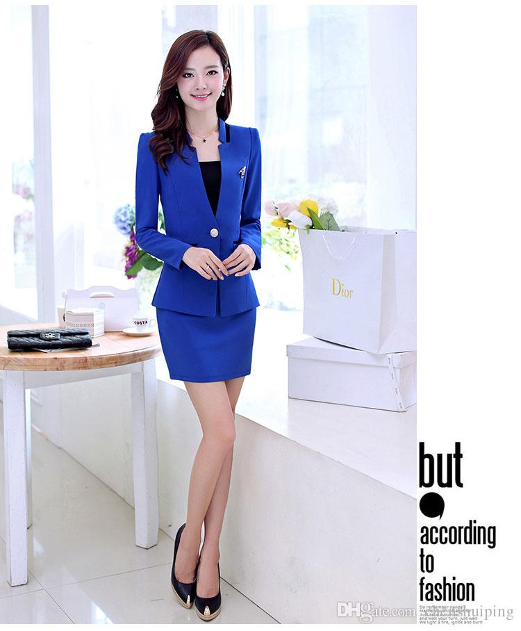 ! Fashion high quality slim lady career suits women work clothes business suits nice suits for girls with Wrapped chest