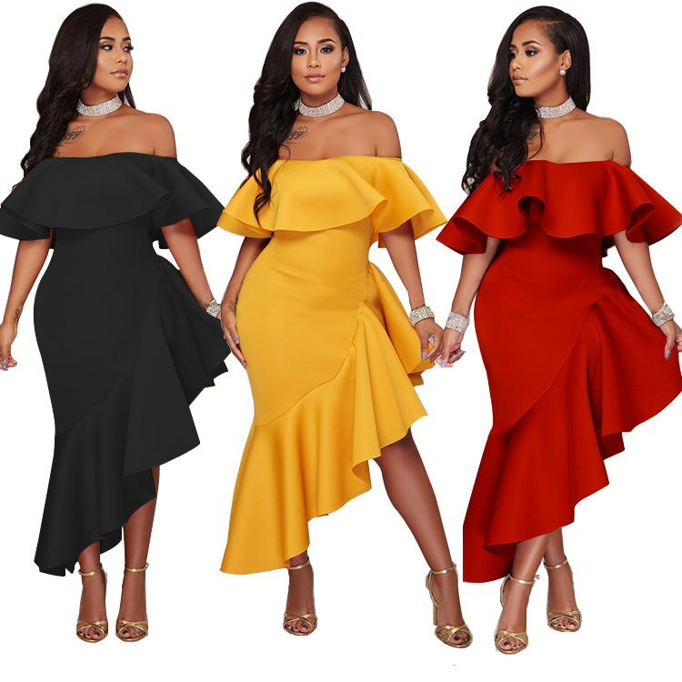 e9ab68d76a38 2019 2017 Women S Sexy Ruffled Strapless Dresses Scuba Stringy Selvedge  High Waist Asymmetrical Hem Backless Party Evening Maxi Dress From  Chenyuanfang