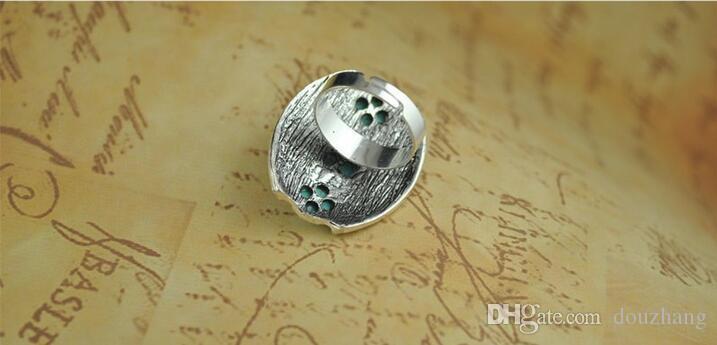 Vintage Bohemia anillo tallado turquesa para mujer aleación de plata antigua talla anillos de joyería de moda al por mayor 12 piezas