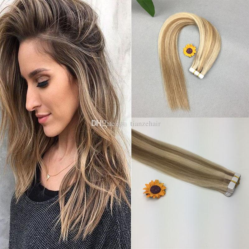 Tape In Human Hair Extensions 16 18 20 Straight Pu Skin Weft Hair