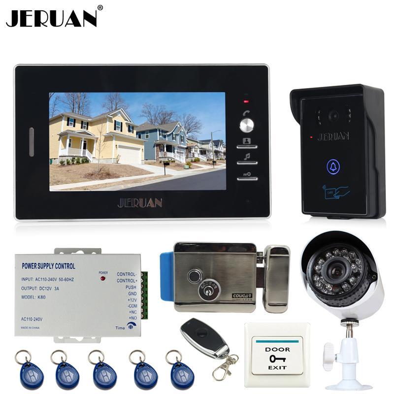 Jeruan 7`` Video Door Phone Entry Intercom System Kit Touch Key Rfid Access  Ir Camera + Analog Night Vision Camera +E Lock Front Door Security Camera  Front ...