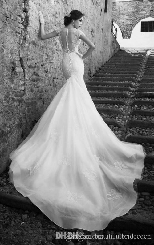 Fancy Wedding Dresses 2019 High Quality Deep V-neck Mermaid Cheap Wedding Dresses with Chapel Train Capped Sleeves Sheer Covered Button Back
