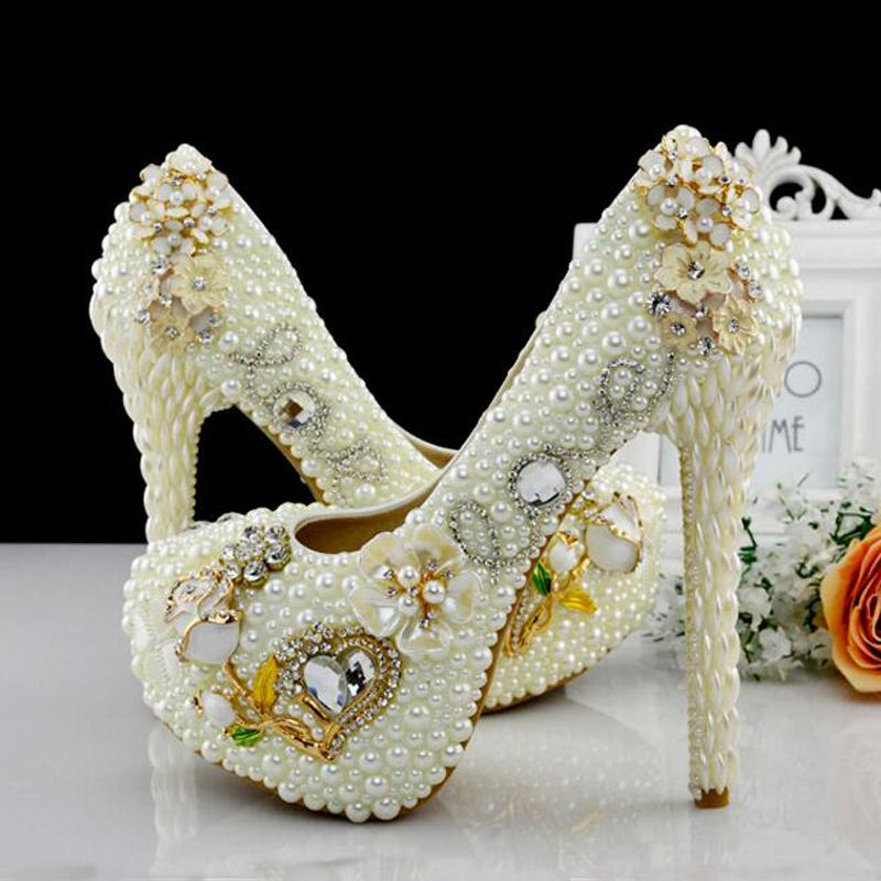 389ef21f500601 Customized Luxury Diamond Rhinestone High Heels Women Wedding Shoes Ivory Pearl  Bridal Platforms Adult Ceremony Party Shoes Black Satin Shoes Bridal Ballet  ...