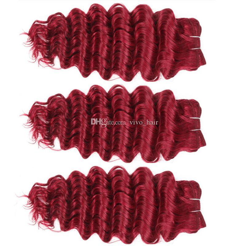 Deep Wave Red Hair Bundles Indian Deep Curly Virgin Human Hair Weaves Wine Red Human Hair Extensions Dhl Free