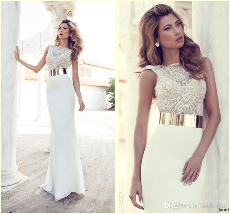 2015 Gorgeous Beaded Prom Dresses Ivory Beading Embellished Bateau ...