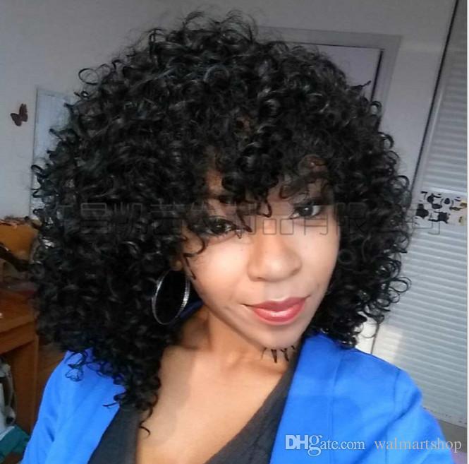 Parrucche Kinky ricci lunghi 16 pollici Parrucche Afro in pizzo corto le donne nere Capelli sintetici in fibra ad alta temperatura bea110