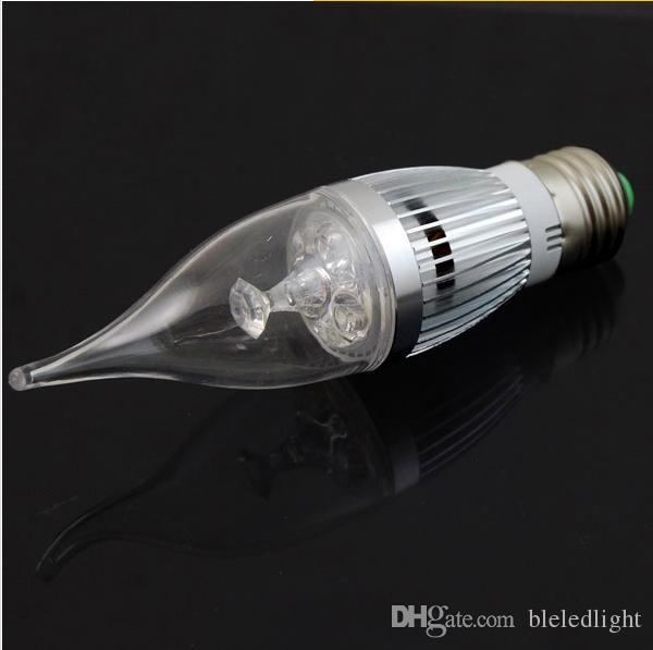 Cubierta transparente CREE Led luz de la vela lámpara E14 E12 E27 blanco cálido 3W regulable llevó bombillas 110V 230V