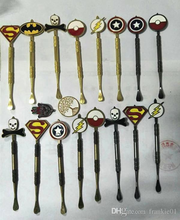 New Arrival 3 색 Dabber tool with fashion deign stickers Pokeball, Batman, Captain, superhero, Flash and Skull wax Dab 툴 120mm Jars Tool