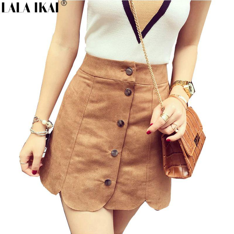 2017 Petal Edge Tan Suede Skirt Women Button Front Suede Midi ...