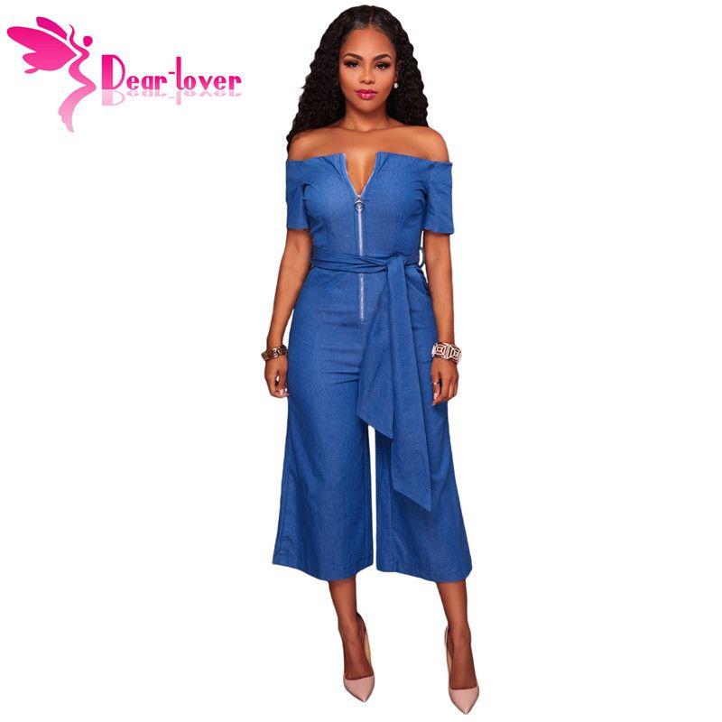 3331bb20c41 Dear Lover Wide Leg Jumpsuit Fashion Hot Sexy Blue Denim Off ...