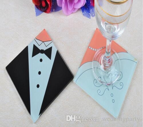 Kreative Hochzeits-Großhandelsgeschenke Braut-und Bräutigam-Kleid-Glas-Untersetzer, die Bevorzugungen Wedding sind