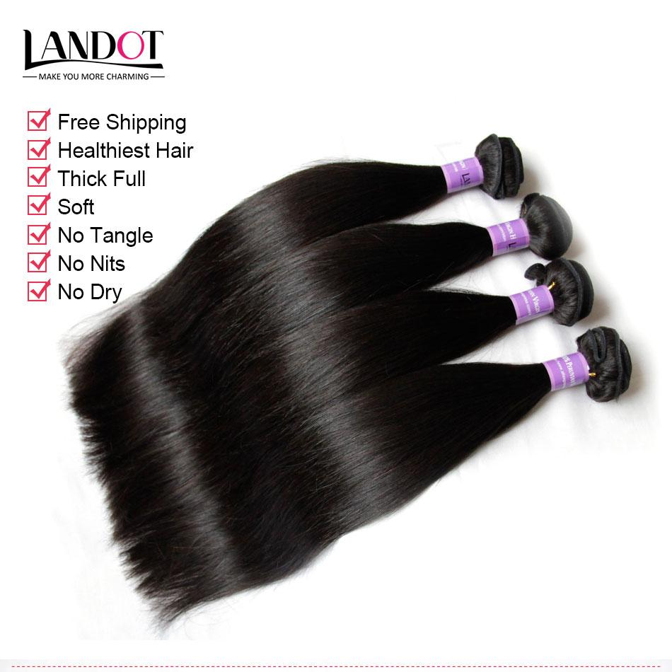 Peruvian Straight Virgin Human Hair Weaves With Lace Closure 100% Peruvian Straight Hair 4 Bundles And Closures Free/Middle/3 Part