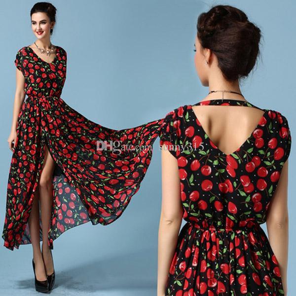 Zarif 2015 Moda Artı Boyutu Kadın Gevşek Baskı Ipek Şifon Elbise Seksi Bölünmüş Uzun Elbise Kat-Uzunluk Maxi Elbiseler Önlük