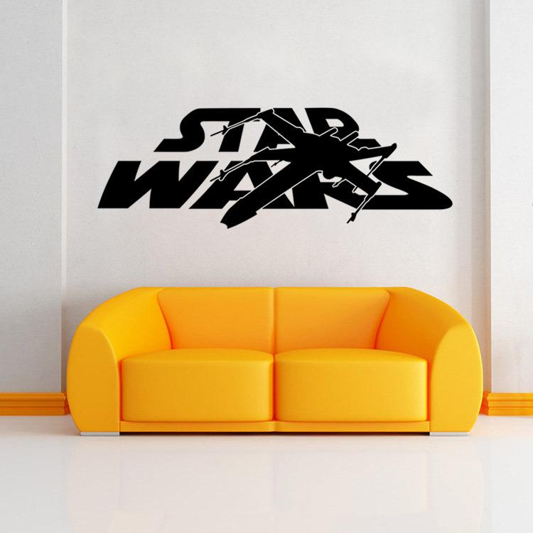Newest star wars wall stickers 2 styles star wars logo letter characters with battleship and lightsaber new wall transfer quotes wall transfer stickers from