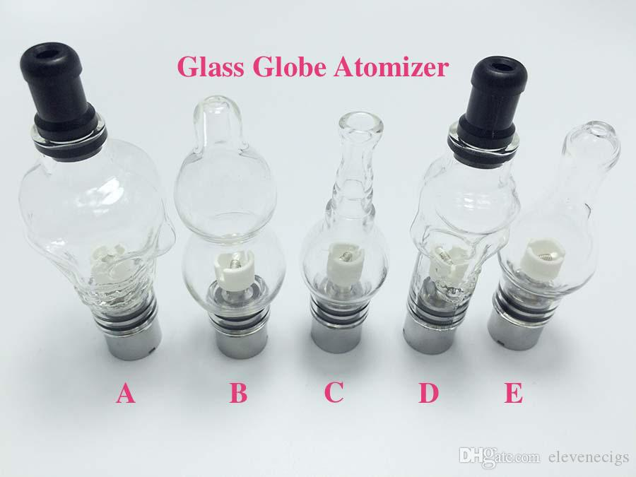 5 Style Glass Globe Atomizer Glass Globe Tank Wax And Herb Vaporizer Dual coil Replacement Ceramic Cotton Coils Wax Glass Aomizer