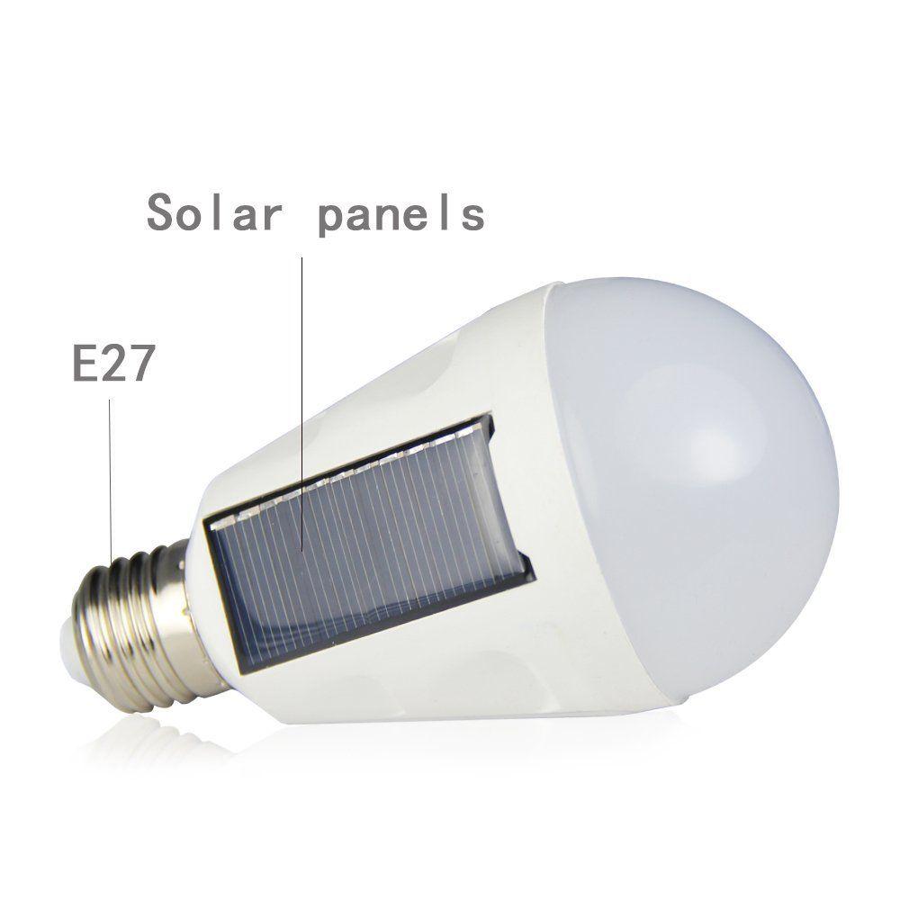7W 매달려 태양 에너지 충전식 비상 LED 전구 일광 6500K E27 IP65 방수 태양 전지 패널 야간 조명