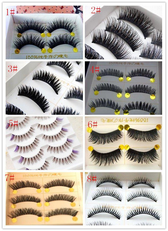 Manual false eyelash thick black and purple sexy leng yan cotton stalks club photo