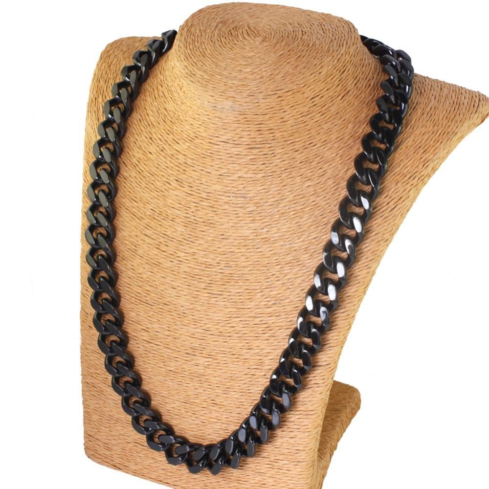 Men Boys 316L Pure Stainless steel black Curban Curb Chain Necklace 10mm 24'' for xmas / birthday Bling Jewelry Gifts