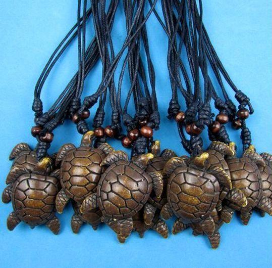 Wholesale Imitation Yak BONE Carved Brown Sea turtles pendant Surfing necklace Adjustable Cord Gift
