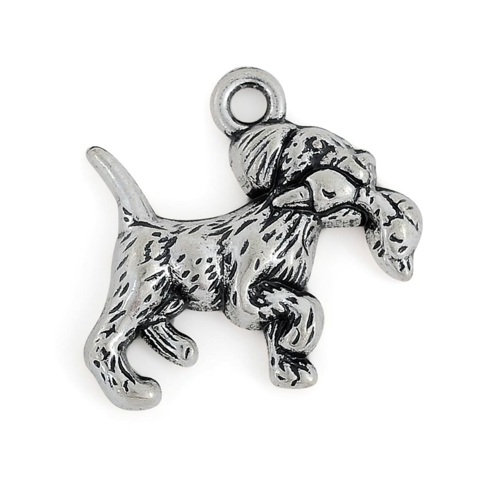 Retriever with Duck Charm Dogs & Pets 20*19 mm single side antique silver