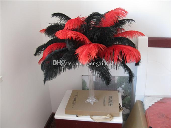 Großhandels-Freies Verschiffen-Präfekt / Los 18-20inch 45-50cm rote und schwarze Strauß-Federn für Hochzeits-Mittelstücke