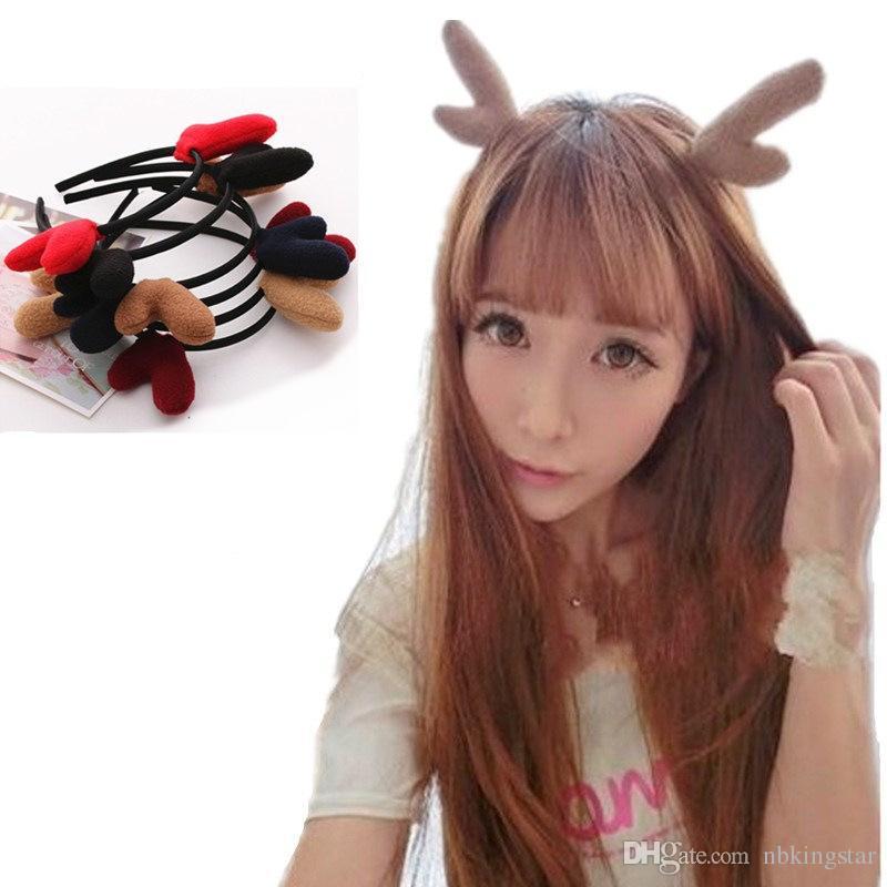 Cute Deer Ears Christmas Headbands Elk Antlers For Women Children Head Hoop Xmas Party Dance Cosplay Hairwear