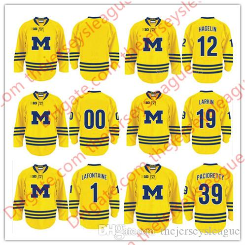 online store bdf8f 7b6c5 Michigan Wolverines Mens Youth #1 Pat LaFontaine 12 Carl Hagelin 19 Dylan  Larkin 39 Max Pacioretty Yellow Stitched Hockey Jerseys