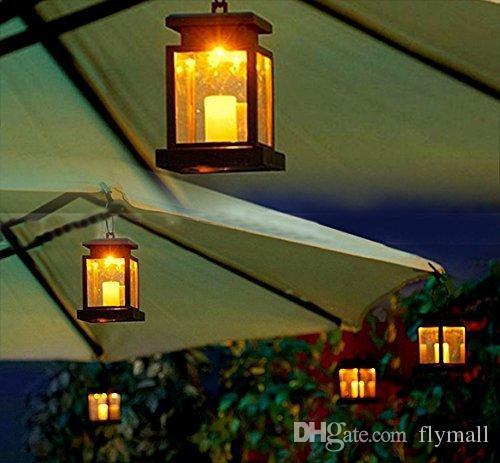 Lampada a energia solare vintage impermeabile appeso ombrello lanterna a lume di candela led con morsetto ombrellone albero giardino cortile illuminazione prato