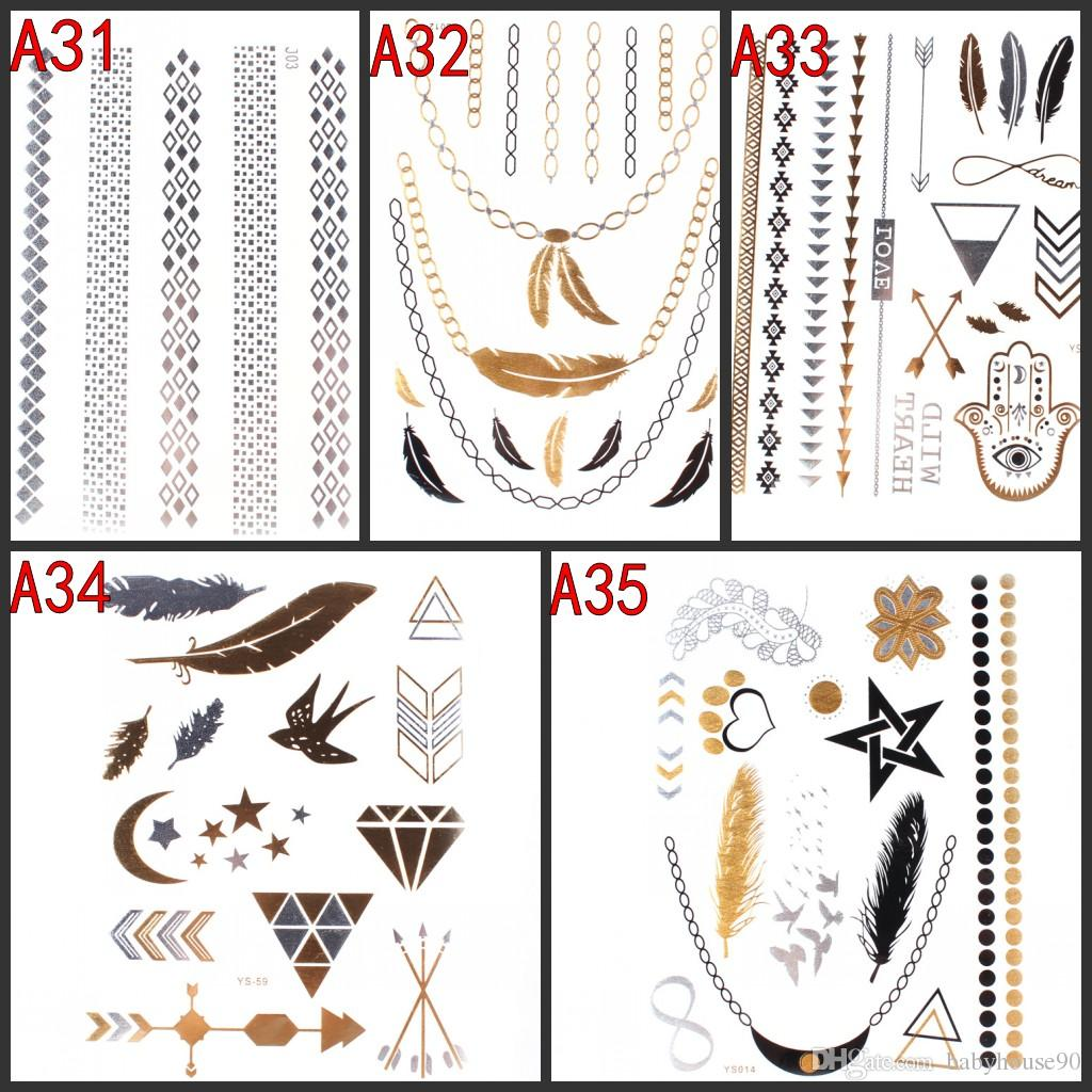 New design bracelets necklaces gold temporary tattoos sticker new design bracelets necklaces gold temporary tattoos sticker metallic anchor feather hand swallow arrow infinity symbol tattoo stickers biocorpaavc Image collections
