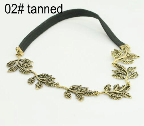 DHL 120 unids moda estilo caliente banda para el cabello dama de oro hoja de oliva diadema pieza principal cadena de cadena de banda elástica de oro banda