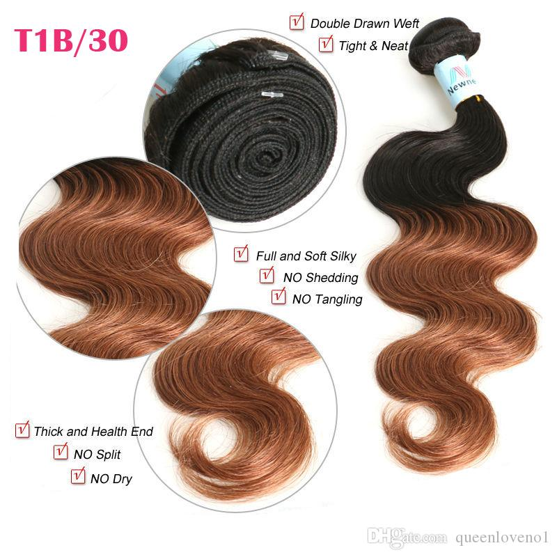 Brazilian Body Wave Two Tone Color Ombre Human Remy Hair Weaves T1B/27 T1B/30 T1B/99J Brown Burgundy Red Double Wefts