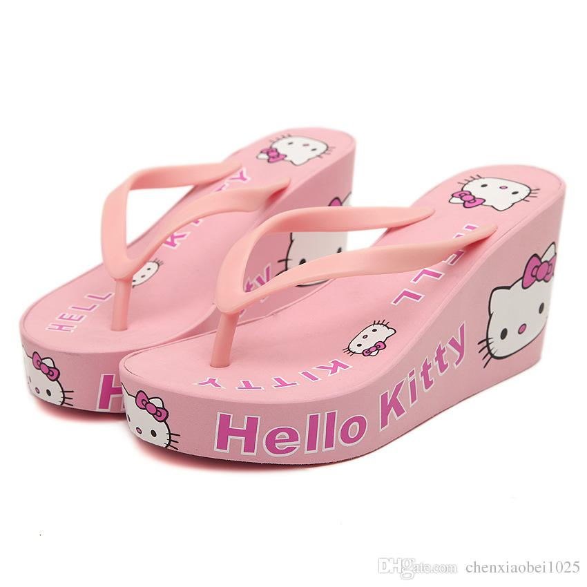 589c415e0 New Summer Wedge Flip Flops For Women'S Sandals Hello Kitty Embellished Cute  Design Beach Slippers Women Shoes Womens Ankle Boots Ladies Slippers From  ...