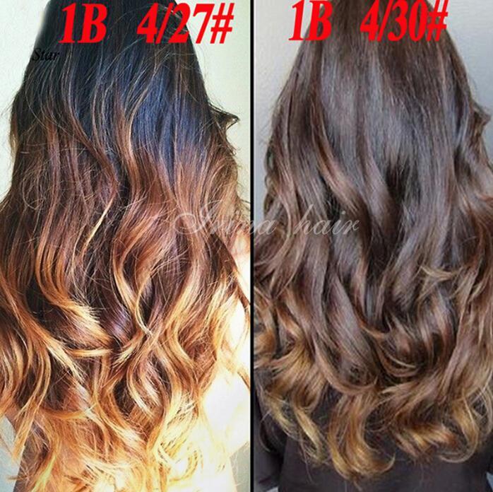 7a Malaysian Virgin Hair Body Ombre Hair Extensions 1b427 3 Tone