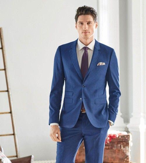 New Design Blue Men Wedding Suits Grey Notched Lapel Grooms ...