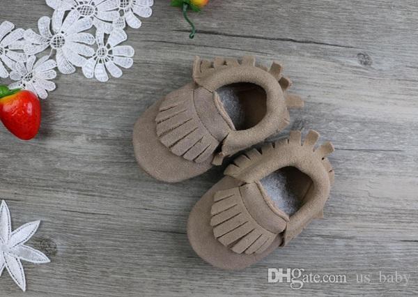Детские замши натуральная кожа коровы мокасины мягкая бахрома moccs 5 цветов мальчики девочки мокасины первый ходунки противоскользящие обувь 18 пар