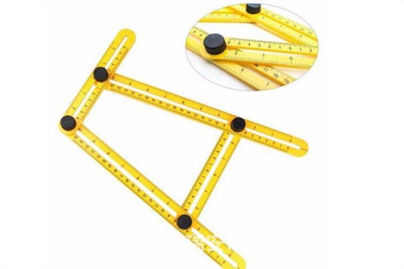 Règles de mesure multifonctions Outil de gabarit d'angle d'angle en plastique ABS jaune Quatre pieds Activités Règle de pliage pratique 2 8hb B