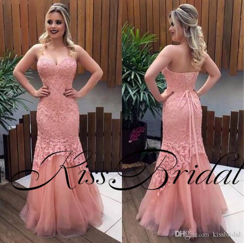 Compre 2018 Vestidos De Noche De Sirena Coral Lace Formal Vestidos ...