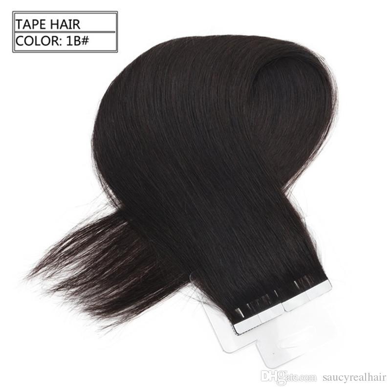 Extensiones de cabello humano de cinta de poliuretano Extensiones de cabello marrón mediano a rubio Trama de doble cara rusa piel de trama