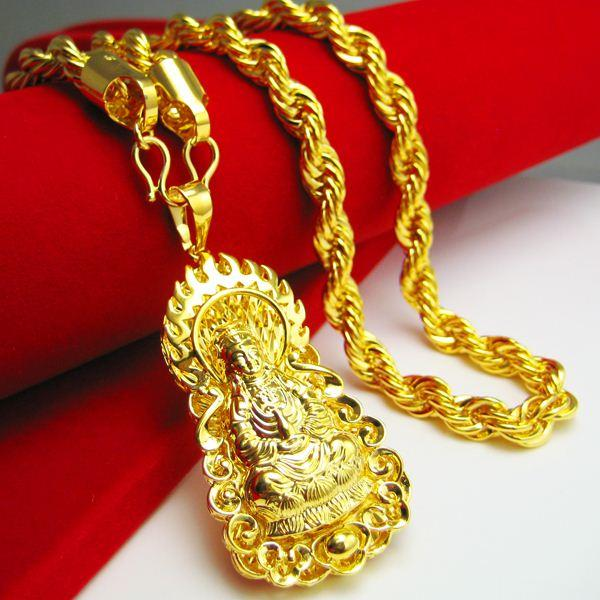 Wholesale gold necklace men do not fade guanyin pendant brand wholesale gold necklace men do not fade guanyin pendant brand imitation gilded buddha pendant 999 gold long thick twist silver pendant necklace gold pendant aloadofball Image collections