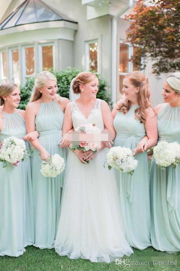 2019 Elegante Chiffon Lange Brautjungfer Kleider Halter Neck Sleeveless Formale Hochzeit Gastkleider Sonderanfertigungen Plus Größenteil von Ehrengut ...