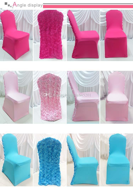MOQ 3D Satin Rosette Flower Back Banquet Lycra Chair Cover For Wedding Use