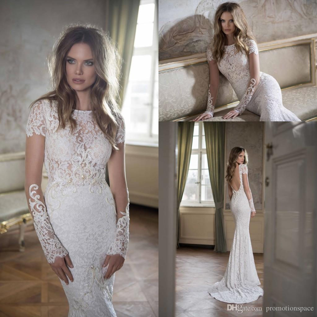 Short wedding dresses in color - Elegant Lace Wedding Dresses Mermaid 2016 Berta Bateau Neck Short Sleeve With Pearls Court Train Backless Graceful Bridal Gowns Ba0259 Lovely Wedding