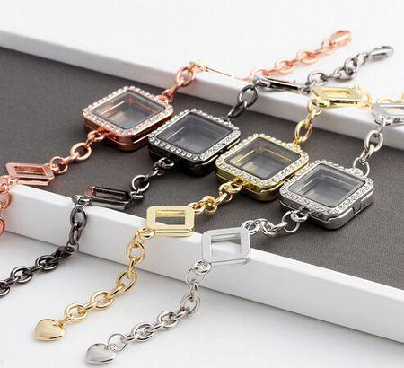 Square Glass Floating Locket Bracelet With Rhinestones Magnetic Living Memory Locket Bangles Fashion Jewelrys