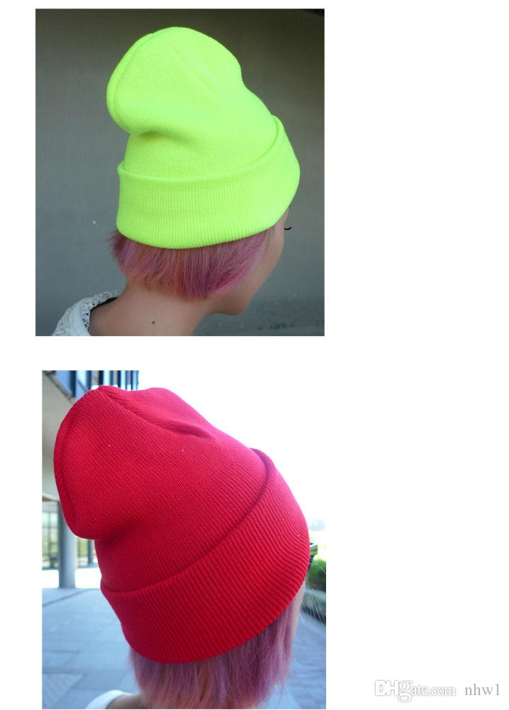 Fashion Unisex Knitted Neon Women Beanie Girls Autumn Casual Cap Women's Warm Winter Hats